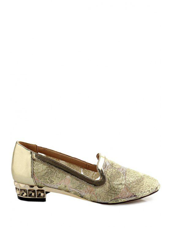 99dfb44a19c382 28% OFF  2019 Lace Rhinestone Pointed Toe Flat Shoes In GOLDEN