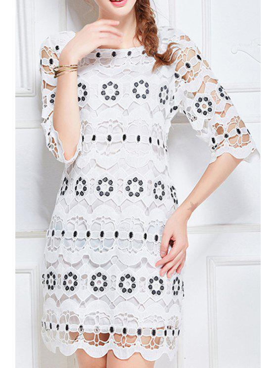 hot Scoop Neck Half Sleeve Hollow Lace Dress - WHITE L