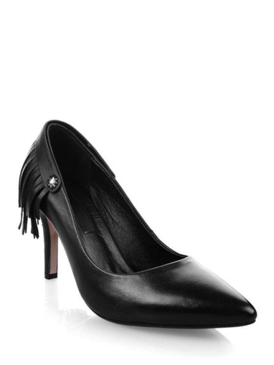 fancy Fringe Stiletto Heel Pointed Toe Pumps - BLACK 39