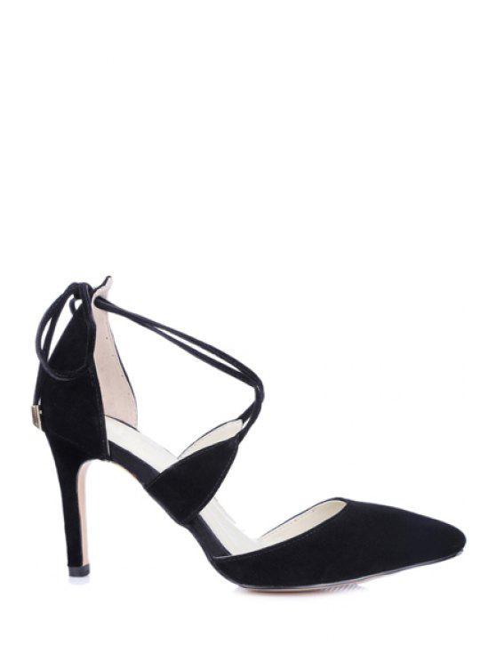 ladies Solid Color Stiletto Heel Lace-Up Pumps - BLACK 36