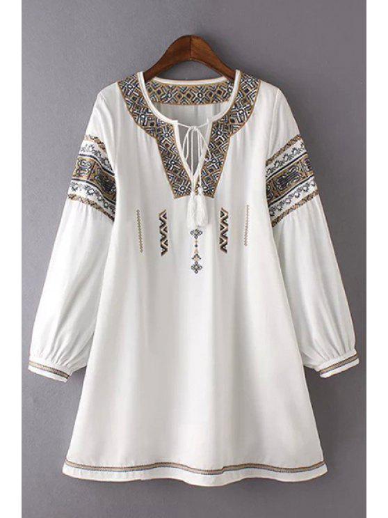 ladies Retro Embroidery Round Neck 3/4 Sleeve Dress - WHITE L