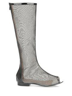 Flat Heel Splicing Gauze Peep Toe Shoes - Black 34