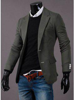 Turn-Down Collar Solid Color Button Embellished Cuffs Long Sleeve Men's Blazer - Green 2xl