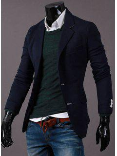 Turn-Down Collar Solid Color Button Embellished Cuffs Long Sleeve Men's Blazer - Cadetblue M