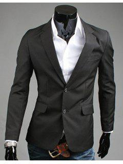 Turn-Down Collar Solid Color Slit Design Long Sleeve Men's Blazer - Black L