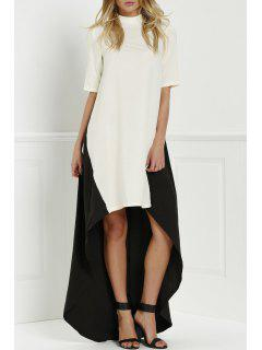Round Neck Color Block Splicing Dress - White And Black L