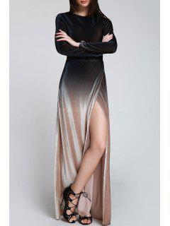 High Slit Ombre Maxi Velvet Dress - Black S