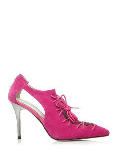 Cross-Strap Solid Color Pointed Toe Pumps - Rose 37