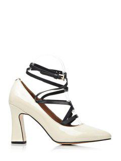 Criss-Cross Chunky Heel Pointed Toe Pumps - Off-white 39