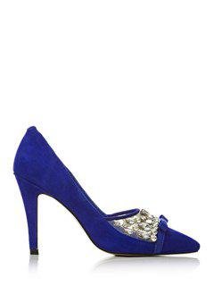 Rhinestone Bow Pointed Toe Pumps - Blue 39