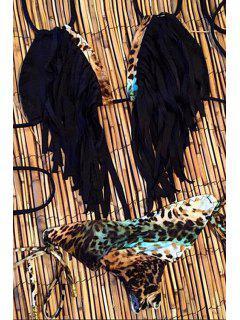Fringe Leopard Print Spaghetti Strap Bikini Set - Black Xl