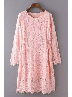 Solid Color Lace Round Neck Long Sleeve Dress - Shallow Pink L