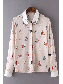 Cat Print Turn-Down Collar Long Sleeve Shirt - Shallow Pink L