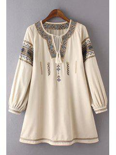 Retro Embroidery Round Neck 3/4 Sleeve Dress - Off-white L