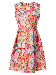 Colorful Mosaic Print Round Neck Sleeveless Dress - Red L