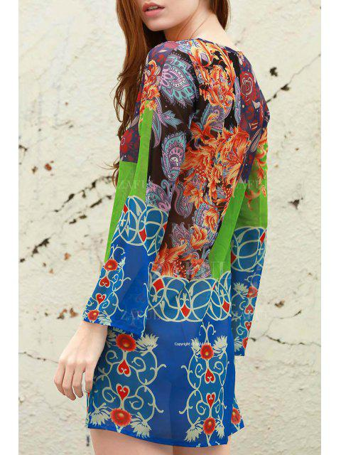 hot Plunging Neck Bohemian Print Dress - BLUE S Mobile