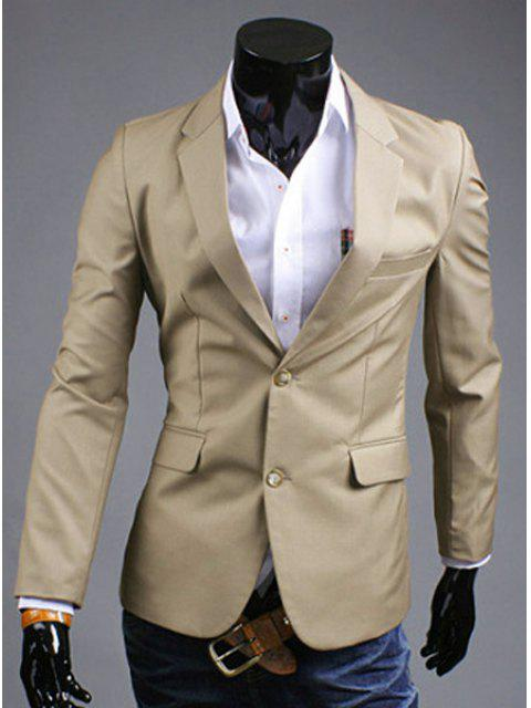Turn-Down-Kragen Solid Color Slit Design Long Sleeve Blazer der Männer - Khaki 2XL Mobile