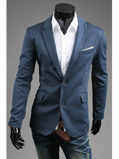 Turn-Down-Kragen-Farben-Block Splicing Design-Langarm Herren Blazer - Blau M Mobile