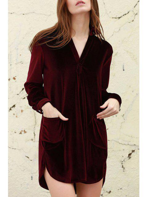 women's Loose Velvet Shirt Dress - WINE RED M Mobile
