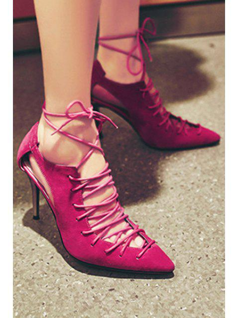 lady Cross-Strap Solid Color Pointed Toe Pumps -   Mobile