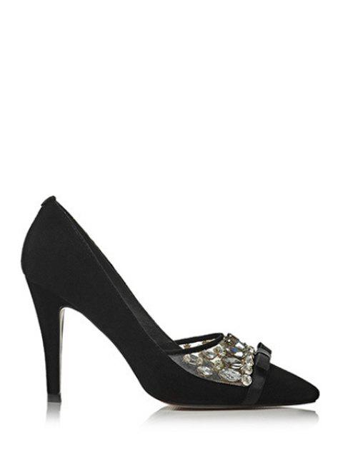 unique Rhinestone Bow Pointed Toe Pumps - BLACK 37 Mobile