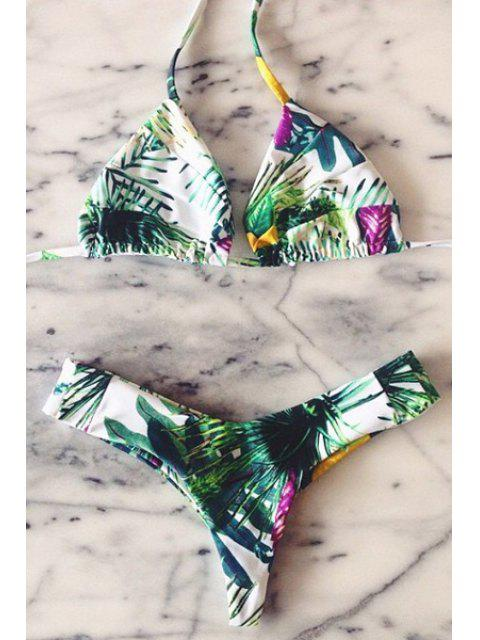 lady Plant Print Halter Bikini Set - BLACKISH GREEN M Mobile