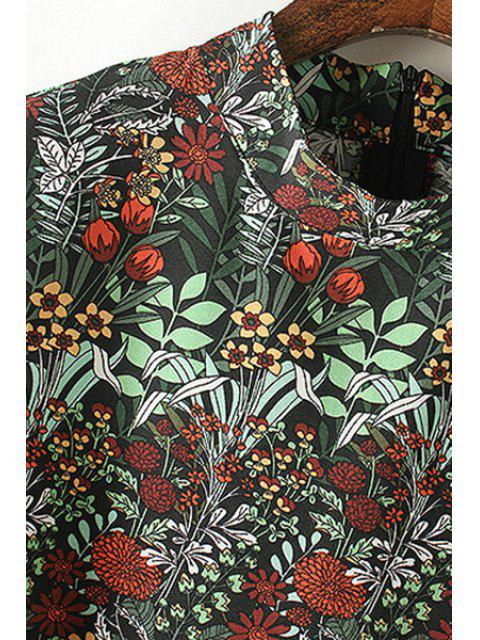 lady Loose Floral Print Stand Neck Flare Sleeve Dress - BLACKISH GREEN XL Mobile