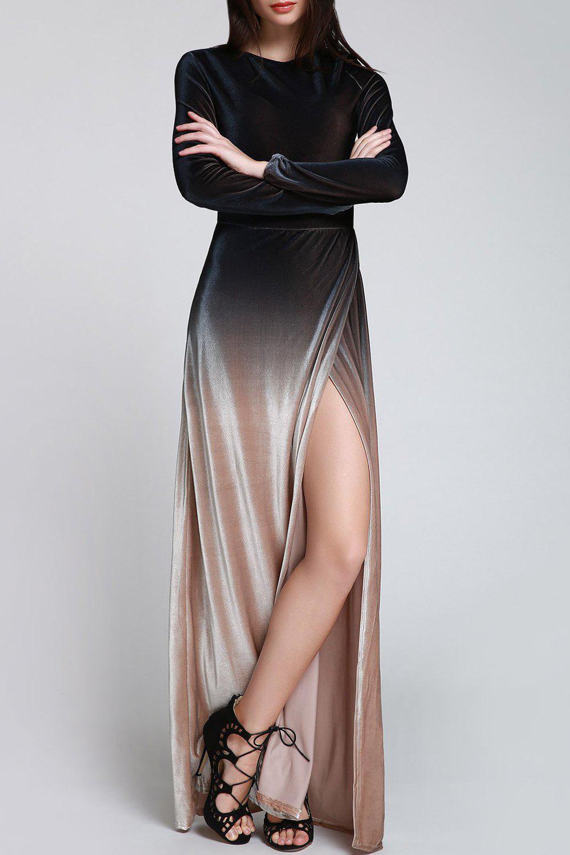 High Slit Maxi Velvet Dress