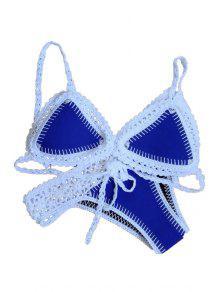 Crochet Spliced Spaghetti Strap Bikini Set - Blue