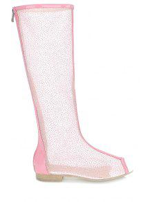 Buy Flat Heel Splicing Gauze Peep Toe Shoes - PINK 34