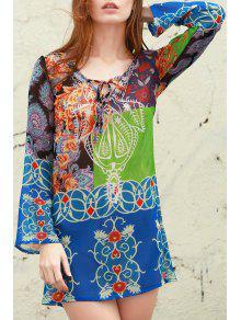 Buy Plunging Neck Bohemian Print Dress - BLUE XL
