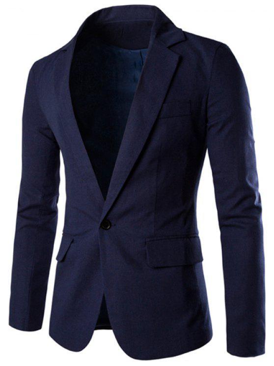 Ein Tasten Einreiher Einfarbig Revers langen Ärmeln Einfarbiger Blazer für Männer - Cadetblue XL