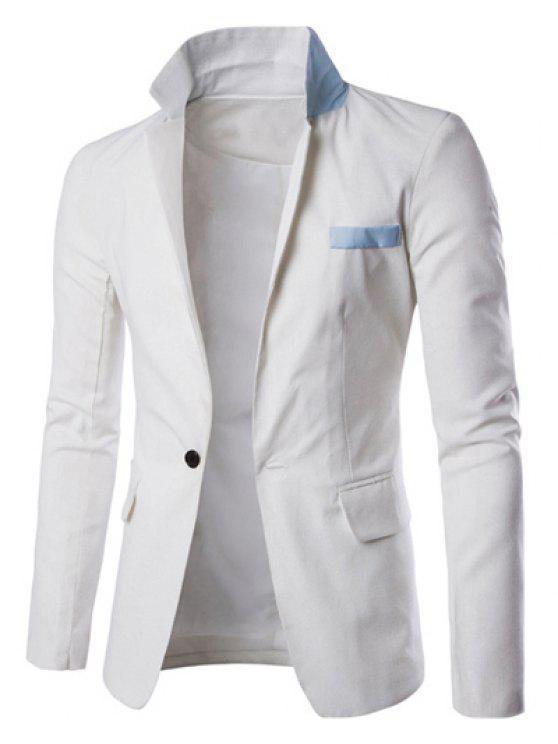 Ein Taste Einreiher Farbe Splicing-Revers langen Ärmeln Leinen Blended Blazer für Männer - Weiß L