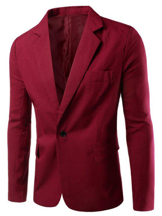 Turn-Down-Kragen Solid Color Einzelbrust Langarm-Blazer der Männer - Rot 2XL