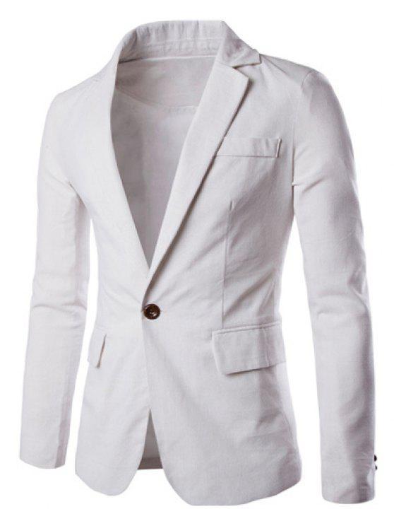 One Button Einreiher Farbe Spliced Revers langen Ärmeln Baumwolle + Leinen Blazer für Männer - Weiß 2XL