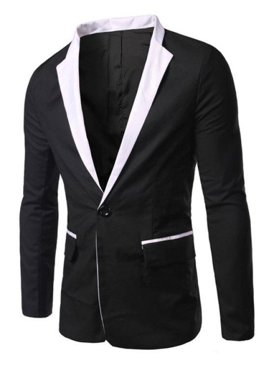 Lässige Turn Down Kragen mit langen Ärmeln Single Button Blazer für Männer - Schwarz L