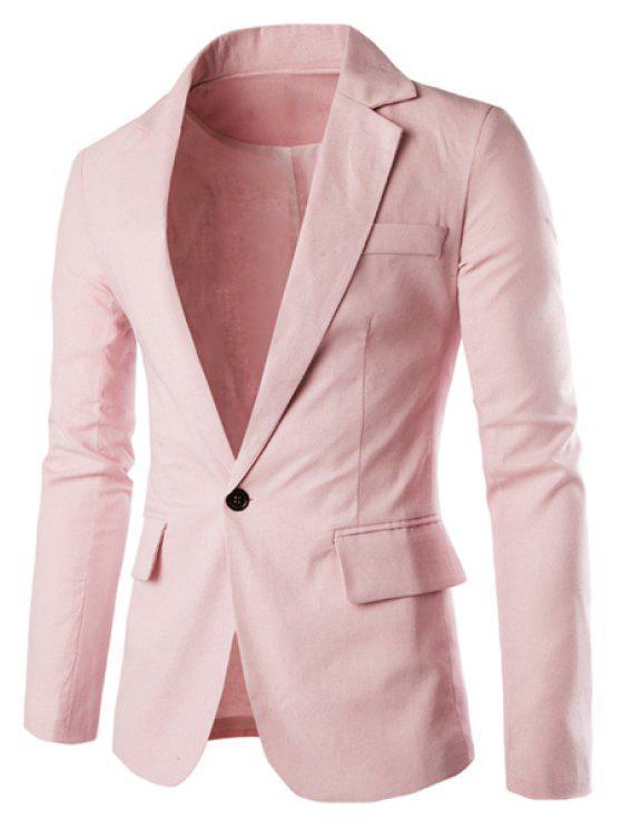 Einfarbige Basic Herren Blazer - Pink 2XL