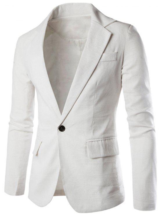 Einfarbige Basic Herren Blazer - Weiß L