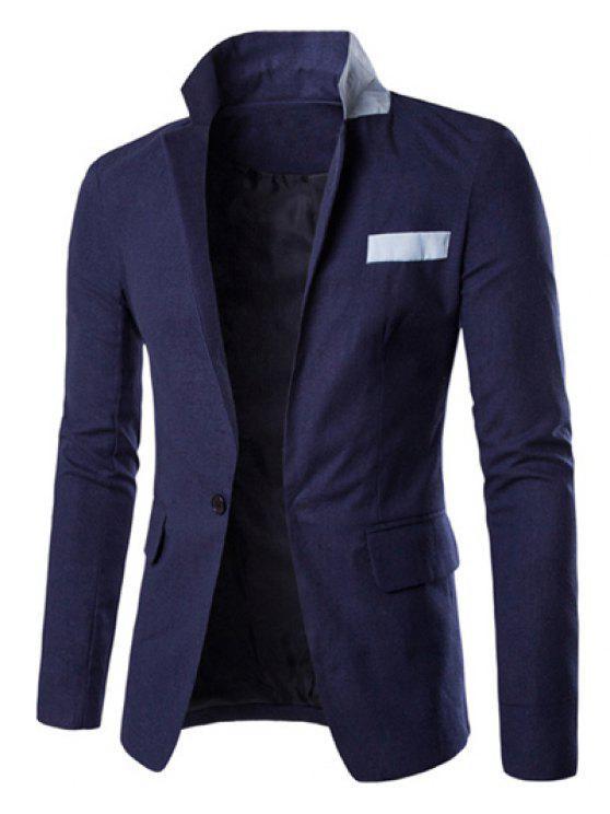 Ein Taste Einreiher Farbe Splicing-Revers langen Ärmeln Leinen Blended Blazer für Männer - Cadetblue M