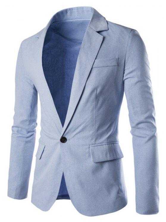 Einfarbige Basic Herren Blazer - Hellblau 2XL
