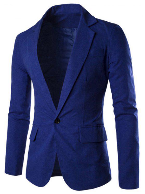 Einfarbige Basic Herren Blazer - Azurblau XL