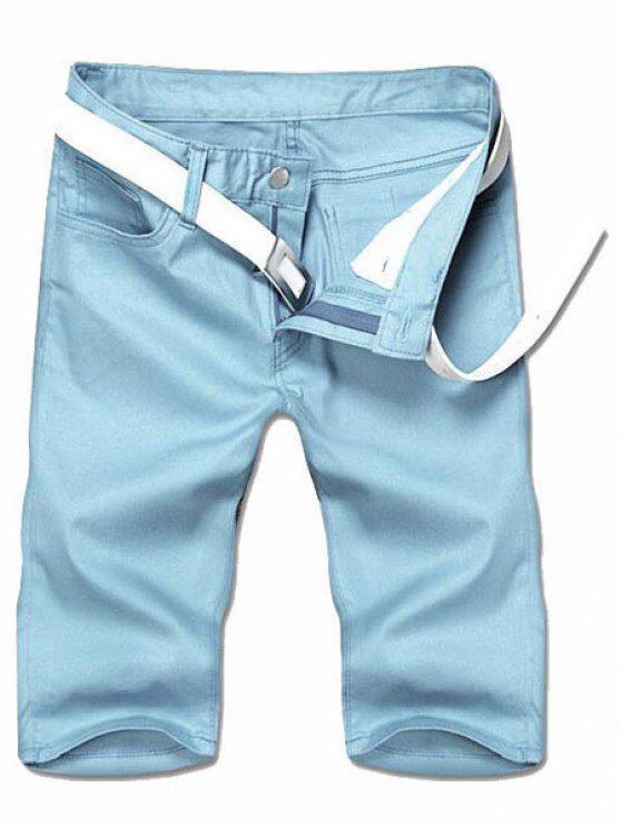 Adelgazar pierna recta Solid pantalones cortos de color Cierre con cremallera hombres - Azul Claro 32
