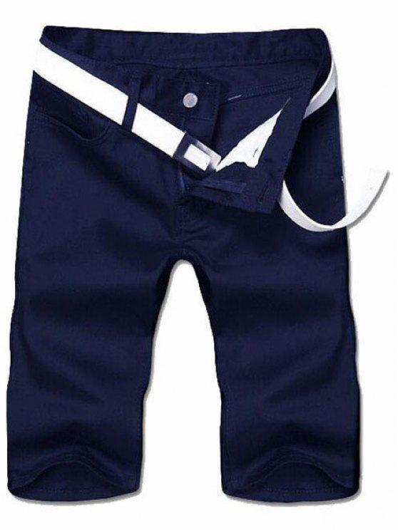 Abnehmen Straight Leg Solid Color Reißverschluss Shorts - Cadetblue 32