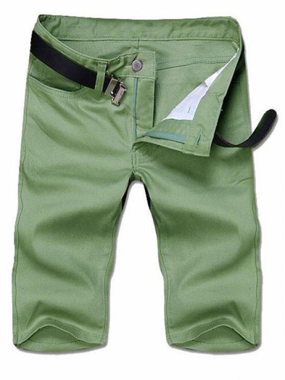 Emagrecimento perna esticada Sólidos Shorts Fly Zipper Cor - Verde profundo 38