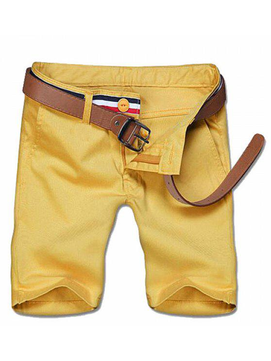 shops Casual Zipper Solid Color Shorts For Men - YELLOW 34