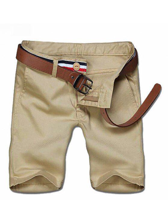 Zipper Casual Solid Color Pantacourt For Men - Kaki 28
