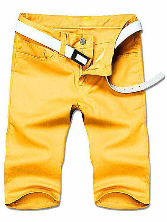 Abnehmen Straight Leg Solid Color Reißverschluss Shorts - Gelb 34