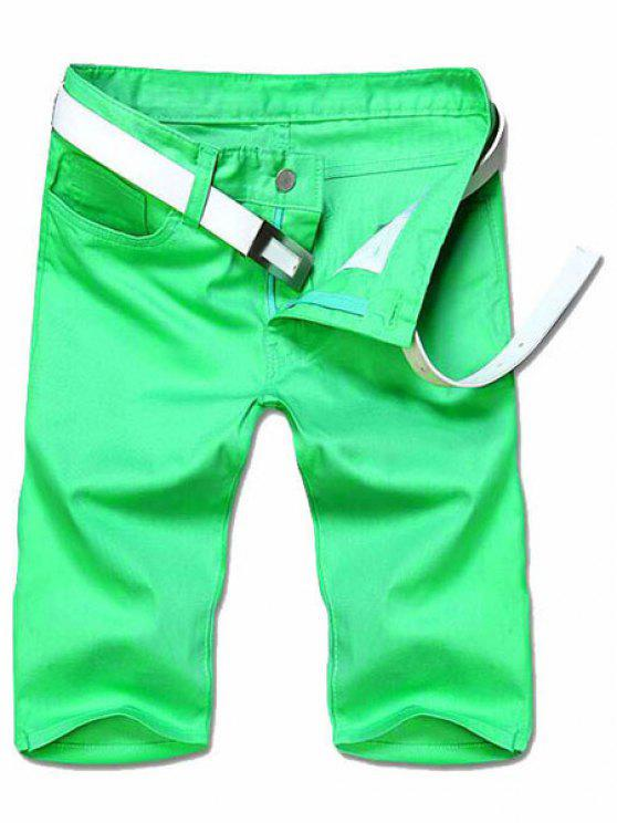 Minceur jambe droite Shorts Couleur Zipper Fly Hommes solides - Vert 38