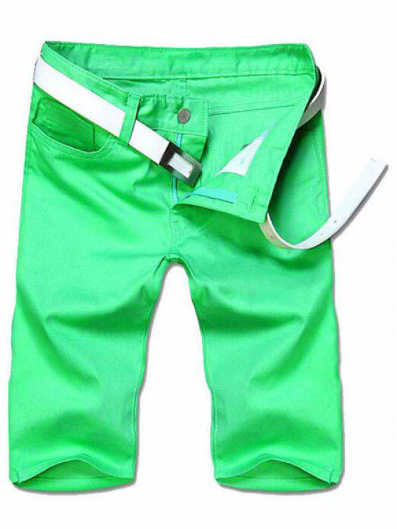 Adelgazar pierna recta Solid pantalones cortos de color Cierre con cremallera hombres - Verde 32