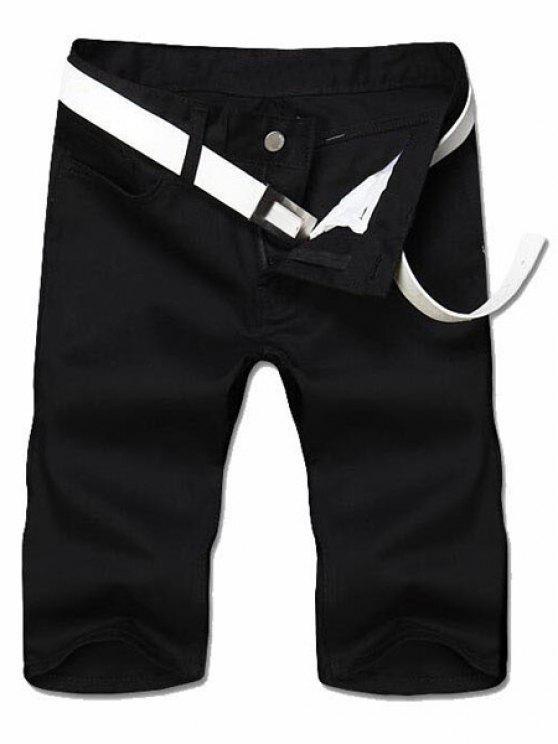 Minceur jambe droite Shorts Couleur Zipper Fly Hommes solides - Noir 34